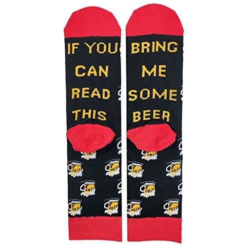 Manyo Unisex, Wenn Sie Diese Mannschafts-Socke Lesen Können - Lustiges Sprichwort-Bier-Wein-Buchstabe-Strumpfwaren
