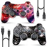 Mando Inalámbrico para PS3, Bluetooth Controlador Play 3 Joystick Gamepad con Doble Vibración Six-Axis para Playstation 3 (Galaxy + Skull)