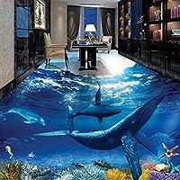 カスタム壁画 3D壁紙 フロアステッカークジライルカ海底 リビングルームテレビソファの家の装飾 -200x140cm/79x55inch