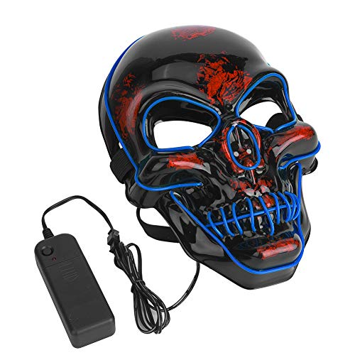 Tbest Máscara de Halloween, Payaso Divertido Máscara de Resplandor Cráneo Scary Glow Máscara de Disfraz de Cosplay de Halloween para Fiestas de Fiestas Prop Show Decoración (Azul)