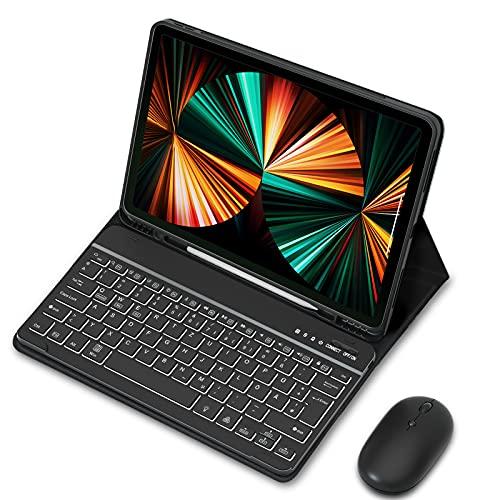 """Sross-TEC Tastatur Hülle mit Maus Kompatibel mit 12,9\"""" iPad Pro 2021/2020/2018, QWERTZ Kabellose Beleuchtete Bluetooth iPad Pro 12.9 Zoll Tastatur Schützhülle Mit Funkmaus/Pencil Halter, Schwarz"""