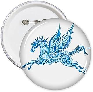 Bleu Cheval Aile Animal Art Grain Illustration Motif Rond Badge à épingle Bouton 5pcs XL
