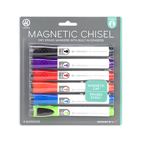 U Brands Low Odor Magnetic Dry Erase Markers With Erasers, Chisel Tip, 6-Count (Assorted Colors)