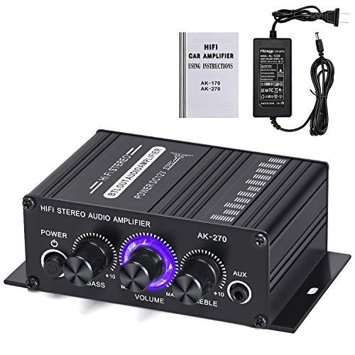 Facmogu AK270 - Amplificador de potencia para coche con adaptador de corriente de 12 V 3 A, mini amplificador RMS de 20 W + 20 W, 2...