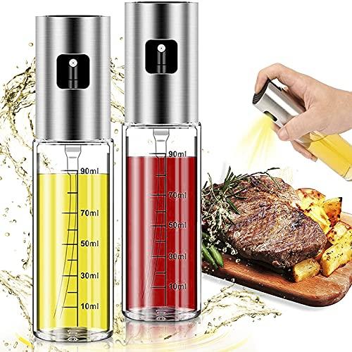 Rociador de aceite para cocinar, pulverizador de aceite de oliva Mister para freidora de aire, botella de vidrio, versátil dispensador de aceite de aerosol recargable de vinagre Spritzer para barbacoa ensalada hornear asar asar a la parrilla