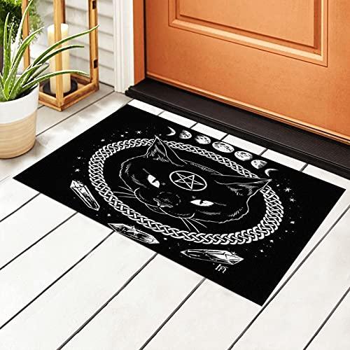 Witch Wiccan Gothic Moon Phase Witchcraft Cat PVC Outdoor Indoor Welcome Doormat Front Door Entrance Rug Non Slip Waterproof Easy Clean Carpet Backing Doormats 40 X 60 cm