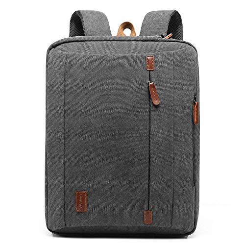 CoolBELL 17,3 Zoll umwandelbar Laptop Tasche/Rucksack Messenger Bag Canvas Umhängetasche Business Backpack Arbeitastasche Mehrzweck Aktentasche Notebooktasche für Laptop/MacBook/Herren(Grau)