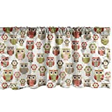 Ambesonne Owls Window Valance, Ornate Owl Birds with Different Retro Style Patterns Blooming Flowers, Curtain Valance for Kitchen Bedroom Decor with Rod Pocket, 54' X 18', Red Green