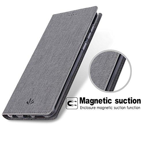Feitenn Honor 7X Hülle, dünne Premium PU Leder Flip Handy Schutzhülle | TPU-Stoßstange, Magnetverschluss, Kartenschlitz, Kameraschutz- und Standfunktion Brieftasche Etui (Grau) - 4