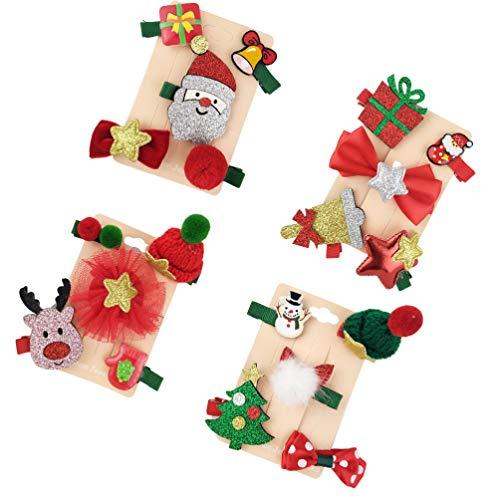 Amosfun 20 Piezas Clips de Pelo de Navidad de Papá Noel Reno Sombrero de Navidad Pinza Horquilla de Pelo de...