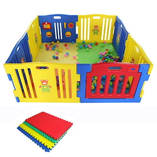 Laufgitter Krabbelpark Laufstall bunt aus Plastik mit interaktiver Spieltafel und Sicherheitstörchen, blau, rot, gelb mit Puzzlematten