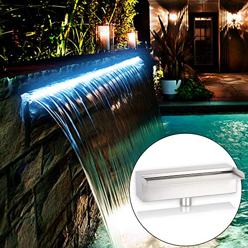 YUDA 35.5' Lighted Waterfall Pool Fountain With LED 7 Color Changing And Remote, Stainless Steel Spillway For Sheer Descent Garden Outdoor