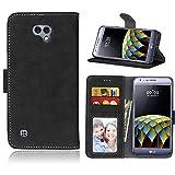 FUBAODA für LG X Cam / K580 Tasche Schwarz, Leder Hülle, Flip Leder Money Karte Slot Brieftasche, Pretty, Kartenfächer Ständerfunktion Hülle für LG X Cam / K580 (5.2inch) (schwarz)
