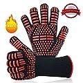 Grillhandschuhe,BBQ Handschuhe Ofenhandschuhe BBQ Kochenhandschuhe Backhandschuhe Hitzefeste bis zu 932°F/500°C 1 Paar Rutschfeste Handschuhe für BBQ,Backen, Hausarbeit und Schweißen etc