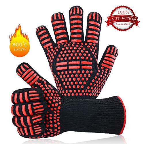 Herefun Grillhandschuhe,BBQ Handschuhe Ofenhandschuhe BBQ Kochenhandschuhe Backhandschuhe Hitzefeste bis zu 932°F/500°C 1 Paar rutschfeste Handschuhe für BBQ,Backen, Hausarbeit und Schweißen etc