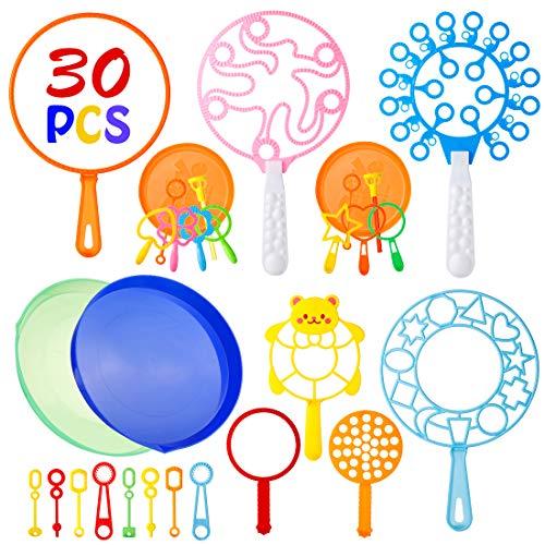 Babyhelen Seifenblasen Set für Kinder, 30 Stück Große Seifenblasenstäbe Zauberstab Einstellen Seifenblasen, Kinder Seifenblasen Set Multibubbler für Indoor Outdoor Partys Hochzeit