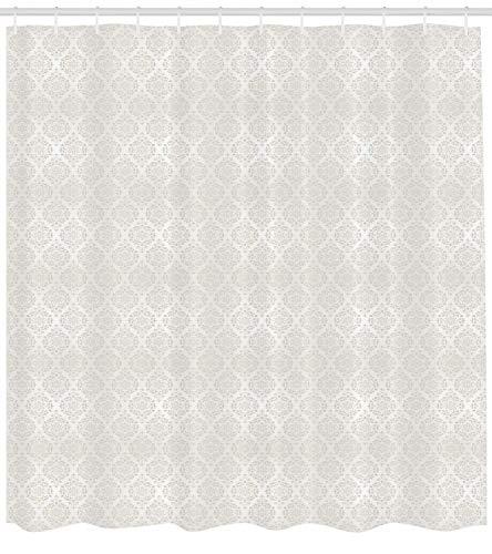 Presock Damask Duschvorhang, Vintage Flower Patterned Image Old School Victorian Themed Wedding Inspirations, Fabric Bathroom Decor Set with Hooks, 60 x 72Inch, Beige White