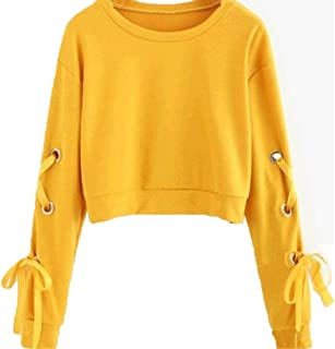 Women Pullover Casual Round Neck Lace Up Long Sleeve Top Loose Short Sweatshirt