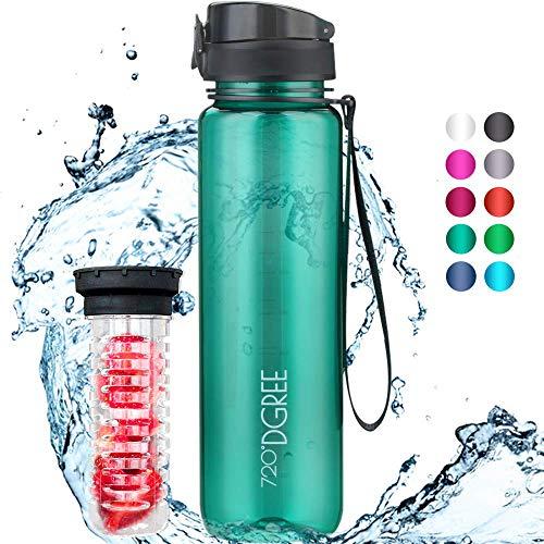 """720°DGREE Kinder Trinkflasche """"uberBottle"""" crystalClear - 350ml - Auslaufsicher, BPA-Frei, Für Schule, Kindergarten, Mädchen & Jungs ab 3 Jahre - Kleine Wasserflasche, Bruchsicher +Früchtebehälter"""