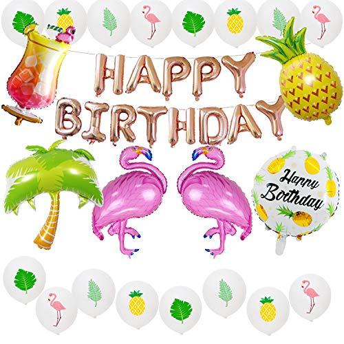 Globos de cumpleaños hawaianos, decoraciones de cumpleaños de flamenco, fiesta de cumpleaños de oro rosa, flamenco, piña, decoración de globos de estilo árbol de coco