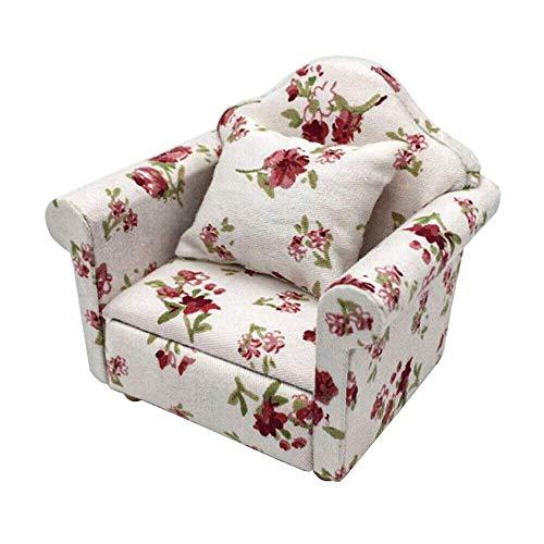 DIYARTS 1:12 Puppenhaus Miniatur Möbel Modell Tuch Blumenmuster Couch Sessel Einzelsofa Mit Kissen Für Puppenhaus Dekoration