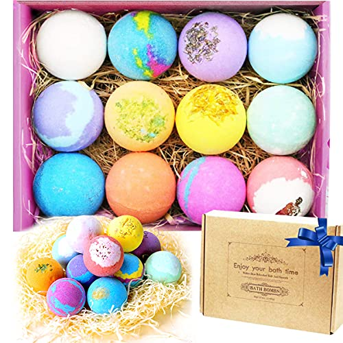 Bath Bombs Gift Set 12 France made Fizzies by DILISS, Shea & Coco Butter Dry Skin Moisturize, Perfect for Bubble & Spa…