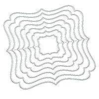 Songowe 金属の花のカッティングダイ炭素鋼diyステンシル紙ダイ手作りエンボステンプレート不規則な形状フレーム金型ホリデースクラップブッキングクラフト12.3*12.3cm