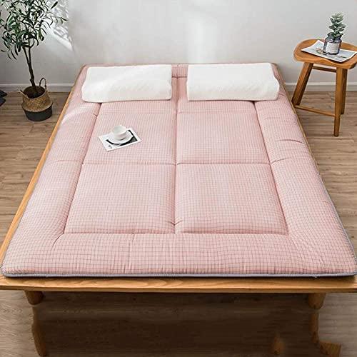 SAZDFY Cojín de colchón Suave y Transpirable Estera de Tatami de futón japonés portátil para Dormitorio, Sala de Estar, colchón de Tatami Plegable Rosa Completo: 120x200cm