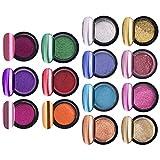 Beaupretty 14 Juegos de Polvo de Uñas Set DIY Efecto Espejo Pigmento de Polvo de Uñas con Palos Herramientas de Manicura de Uñas para Mujeres