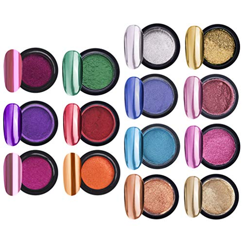 Minkissy 14 Sätze Chrom Nagel Pulver Metallic Nail Art Puder Spiegeleffekt Maniküre Pigment Nail...