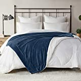 DEGREES OF COMFORT Reversible Sherpa Twin Blanket for Bed - Warm Fuzzy Sherpa & Soft Plush Fleece   Bed Throw Blanket for Couch Bed Camping 4 Sizes 10 Colors, Great Gift for Home Twin 60x80 Navy