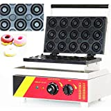 INTBUYING Commercial Donut Maker Machine 1.5KW Iron Waffle Kitchen Tool with Maker 15 Grids