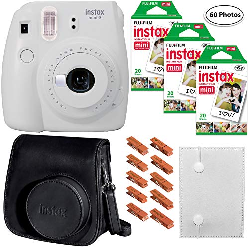 Fujifilm Instax Mini 9 (Smokey White), 3X Instax Film (60 Sheets), Groovy Case, Accordion Album and...