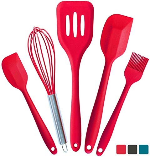 StarPack Premium Silicone Kitchen Utensils Set 5 Piece  High Heat Resistant to 600°F Hygienic One Piece Design Large and Small Spatulas Whisk amp Basting Brush Cherry Red