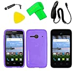 TPU Flexible Skin Cover Case Cell Phone Accessory + Car Charger + Screen Protector + Extreme Band + Stylus Pen + Pry Tool For Alcatel Onetouch A464BG (TPU Purple)