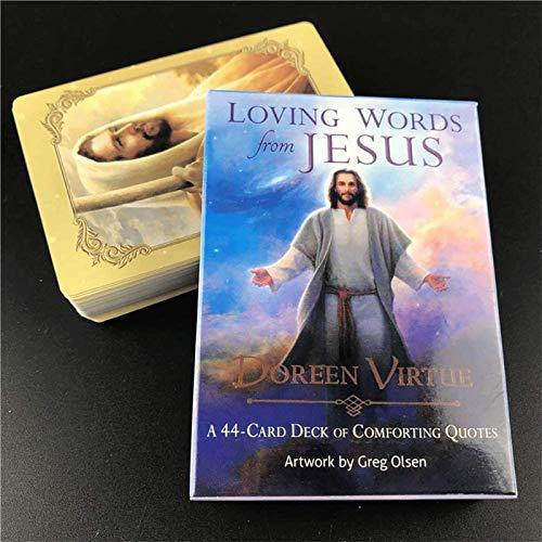 LHJY 44 Cartas De Tarot De Palabras Amorosas De Jesús, Cartas De Juego De Oracle, Cartas De Juegos De Mesa En Inglés para Fiestas Familiares (2 Cajas)