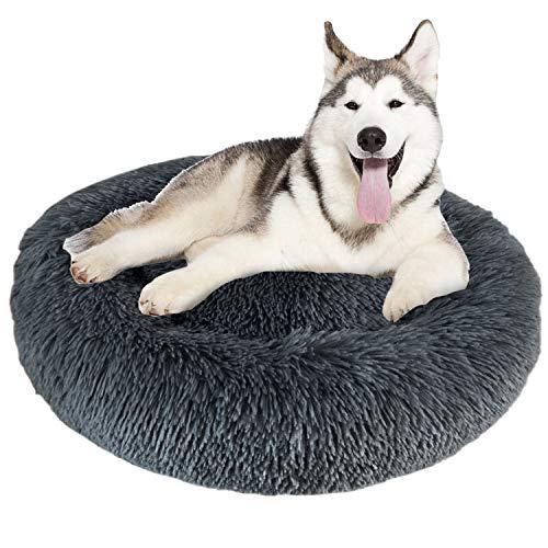 Granbest Luxus Plüsch Hundebett Katzenbett Rund Hundekissen Super Weich Doughnut-Form Haustierbett für kleine mittelgroße Hunde Kunstpelz Haustierbett Maschinenwaschbar (80cm, Grau)