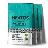 MEATOS Trockenfleisch-Snack vom Rind - Hoher Proteingehalt | Kein Zucker | Gesunder Snack | Natürliche Zutaten | Keine Zusatzstoffe | Fitness Food | Low Carb | Beef Jerky | Packung 3 x 30 g