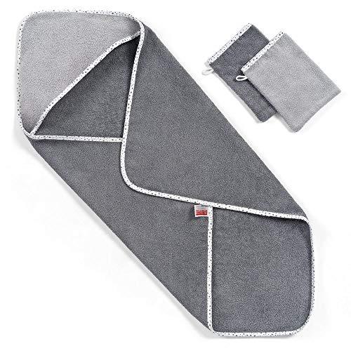 Wörner - Toalla con capucha para bebés, 80x80 cm, incluye 2 manoplas de baño/ Certificado Oeko-Tex Standard 100/ Rizo - 100% algodón/ Color gris con estrellas
