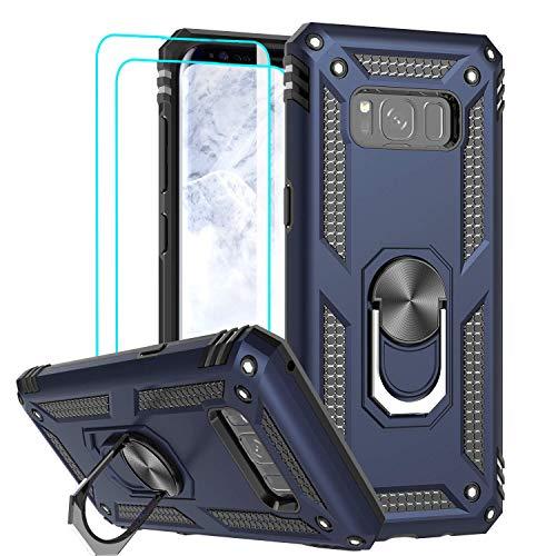 LeYi für Samsung Galaxy S8 Hülle mit 3D PET Schutzfolie(2 Stück),360 Grad Ring Halter Handy Hüllen Cover Bumper Schutzhülle für Case Samsung Galaxy S8 Handyhülle Dunkelblau