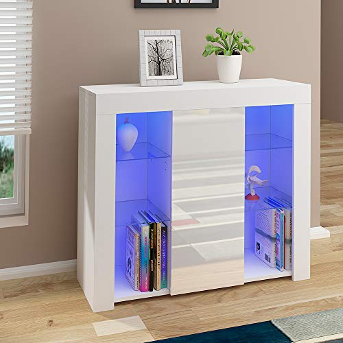 Cabinet Cupboard Sideboard TV Unit Matt Body and High Gloss Doors + LED Light Display Cabinet Storage Unit for Living Room Bedroom (White)