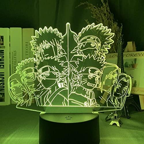 Regalo Uchiha Luz de noche Anime Naruto Uzumaki Lámpara 3D USB Led Team 7 Sasuke Kakashi Dormitorio de niños Luz de noche Itachi Regalo de Navidad Luces de noche LED