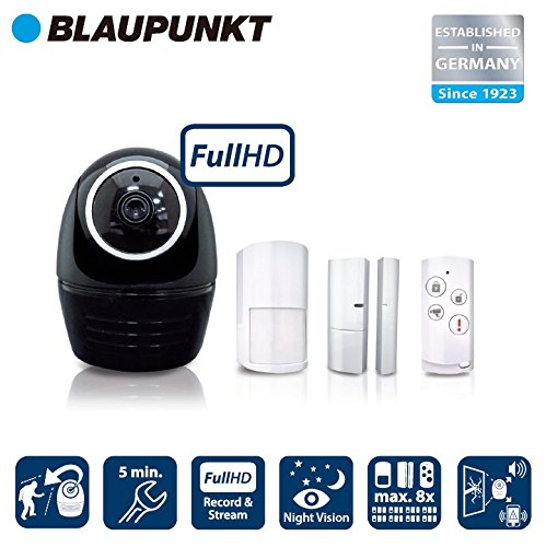 Blaupunkt Security HOS-1800 - Kit de alarma con cámara IP PTZ + sirena integrada, voz bidireccional y detección de intrusos inteligente