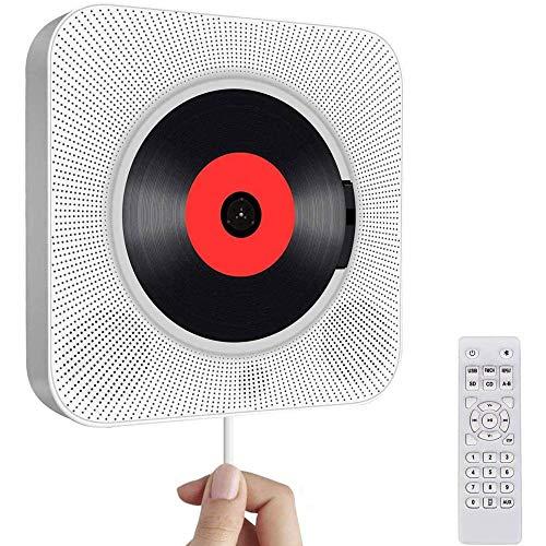 Cd-speler auto, usb-aansluiting bluetooth wandmontage ingebouwde hifi luidsprekers home audio luidsprekers met afstandsbediening 3,5 mm koptelefoonaansluiting FM radio