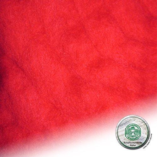 Schafwolle Höfer Filzwolle Bastelwolle Märchenwolle gefärbt 100 Gramm Farbe 31 signalrot