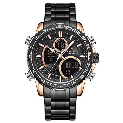 NAVIFORCE Herrenuhr Männer,Quarz Chronographen Wasserdicht Edelstahl Armbanduhr Design Business Datum Sport Modisch Analog Uhren für Herren