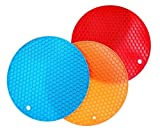 Kiralove - Salvamanteles de silicona, redondo, color aleatorio, manoplas multiusos: cocina, alvear, lavable, multifunción, redondo, resistente al calor, 250 °C