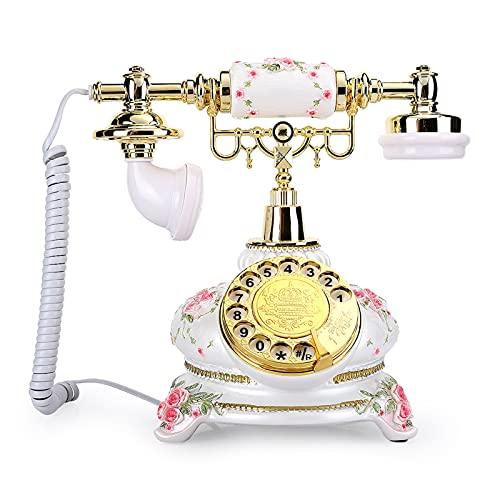 BTMING Teléfono Retro Dial Rotary Vintage Teléfonos Antiguos Teléfonos Distribuidos Cordon Lander Landline Style Teléfonos Antiguos para Home Office Hotel