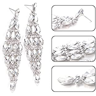 richliruib Fashion Earrings(●_●), Elegant Statement Lady Shiny Rhinestone Long Dangle Ear Stud Chandelier Earrings Christmas Birthday Valentine's Day Present Silver