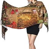 Yuanmeiju Bufanda Feliz Navidad Feliz Año Nuevo Árboles Chimenea Abrigo Bufanda Invierno Cálido Mantón Bufanda Pañuelo Cómodo Bufanda de cuello